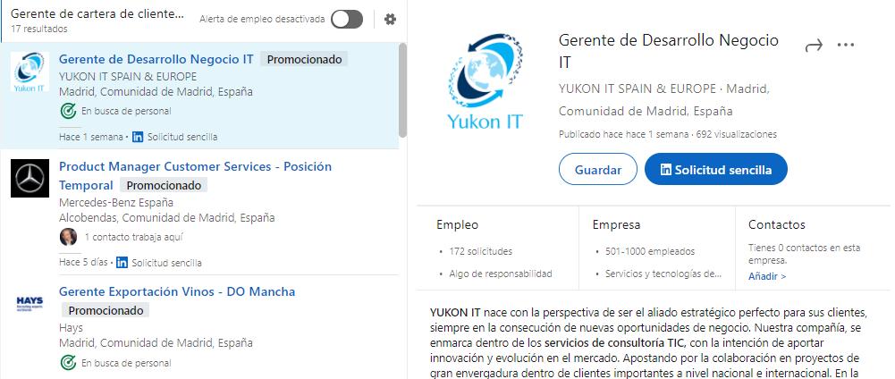 Resultado búsqueda empleo LinkedIn